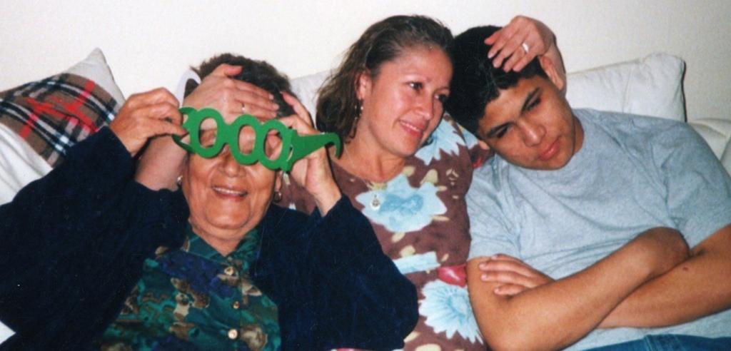 Antonio Nunez with his mother (center) and grandmother