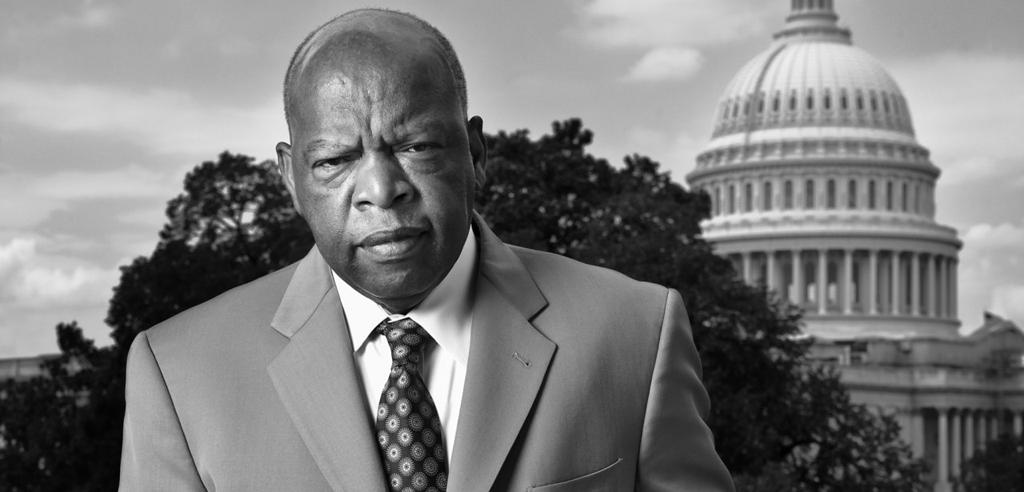 Congressman john lewis with u s capitol behind him