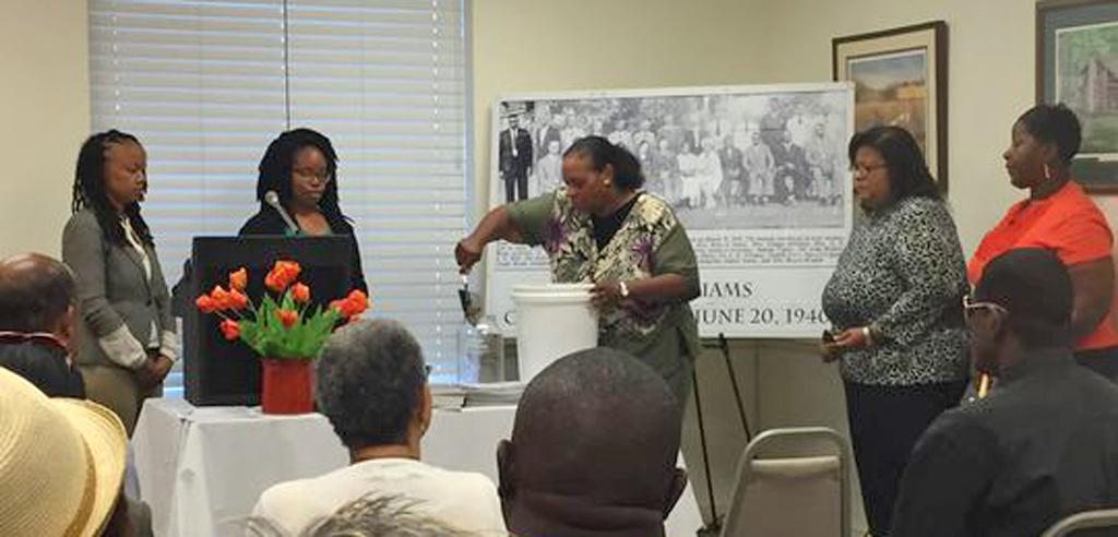 EJI staff with Elbert Williams's descendants at soil collection ceremony in his honor
