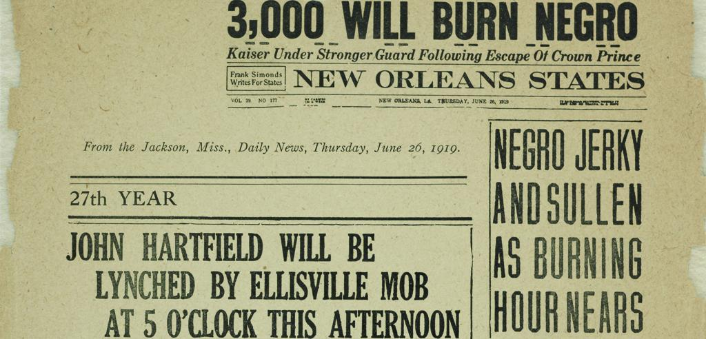 "Front page of newspaper with headline ""3,000 will burn negro"""