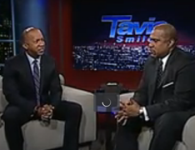Bryan Stevenson being interviewed on Tavis Smiley Show