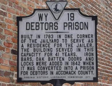 Historical marker at site of debtors prison in Virginia's Accomack County