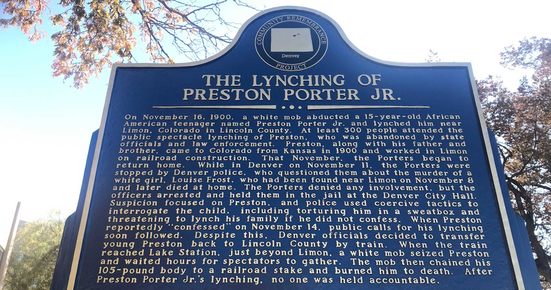 Historical Marker In Denver Memorializes Racial Terror Lynching Of 15 Year Old Boy